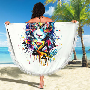 Abstract Lion Beach Blanket