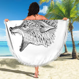 Abstract Zen Wolf Beach Blanket