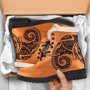 Tribal Totem Faux Fur Leather Boots