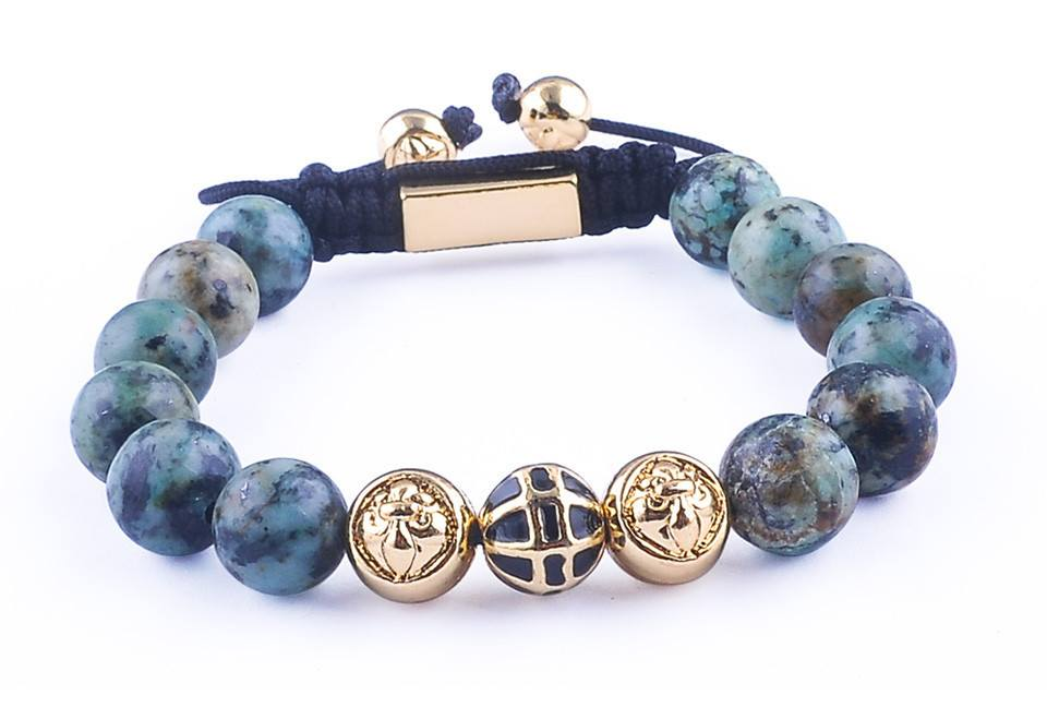 Gold Plated African Turquoise Beads Bracelet - Hilltop Apparel - 1