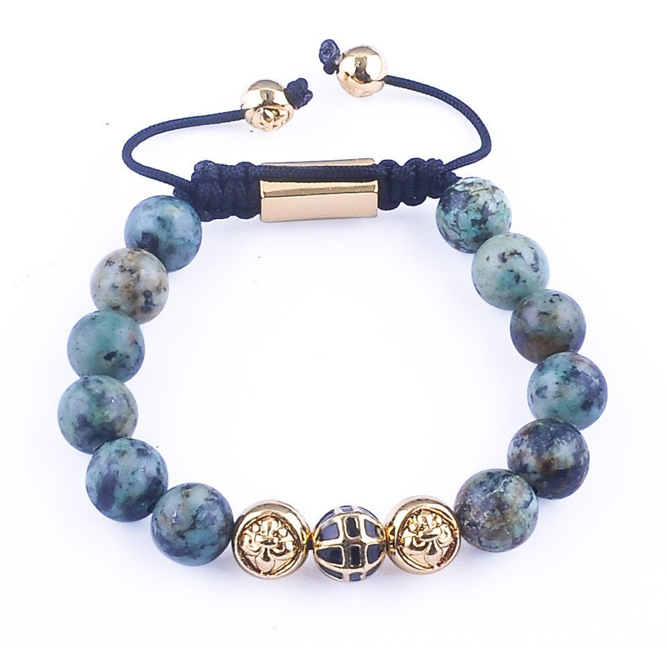 Gold Plated African Turquoise Beads Bracelet - Hilltop Apparel - 2