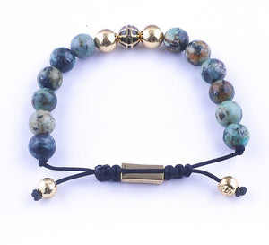 Gold Plated African Turquoise Beads Bracelet - Hilltop Apparel - 3