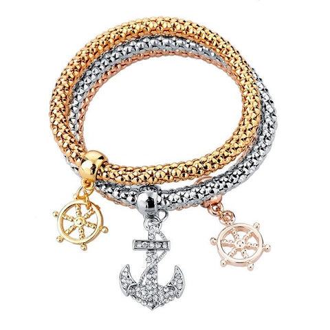 Gold Plated Wheel Of Dharma & Anchor Bracelets Bundle. 3 Pieces. - Hilltop Apparel - 1
