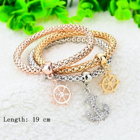 Gold Plated Wheel Of Dharma & Anchor Bracelets Bundle. 3 Pieces. - Hilltop Apparel - 2