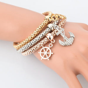 Gold Plated Wheel Of Dharma & Anchor Bracelets Bundle. 3 Pieces. - Hilltop Apparel - 3