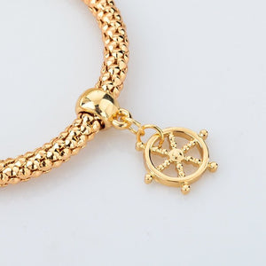 Gold Plated Wheel Of Dharma & Anchor Bracelets Bundle. 3 Pieces. - Hilltop Apparel - 4