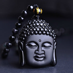 Natural Black Obsidian Buddha Head Pendant Necklace. - Hilltop Apparel - 1
