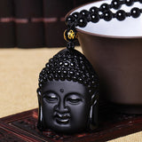 Natural Black Obsidian Buddha Head Pendant Necklace. - Hilltop Apparel - 2