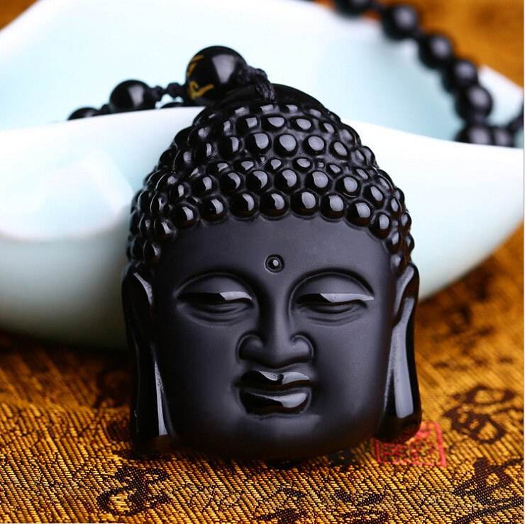 Natural Black Obsidian Buddha Head Pendant Necklace. - Hilltop Apparel - 3