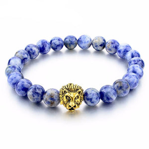 Natural Stone Gold Lion Bracelet. 4 Options. - Hilltop Apparel - 1