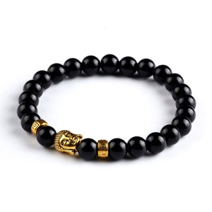 Natural Stone Onyx Bead Buddha Bracelets. 6 Colors. - Hilltop Apparel - 2
