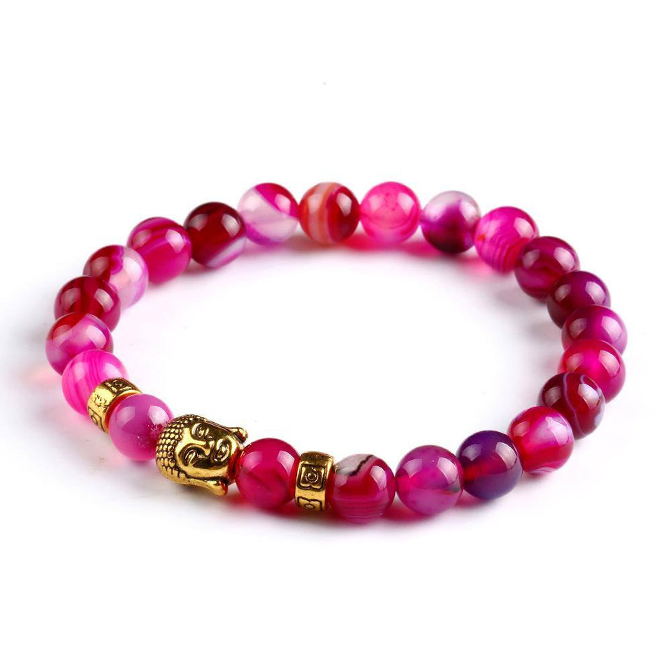 Natural Stone Onyx Bead Buddha Bracelets. 6 Colors. - Hilltop Apparel - 5