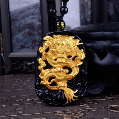 Necklace - 18K Gold Plated Black Obsidian Dragon Necklace