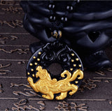Necklace - 18K Gold Plated Black Obsidian Tiger Necklace