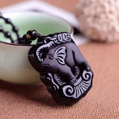 Necklace - Black Obsidian Baby Elephant Necklace