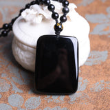 Necklace - Black Obsidian Buddha Face Necklace