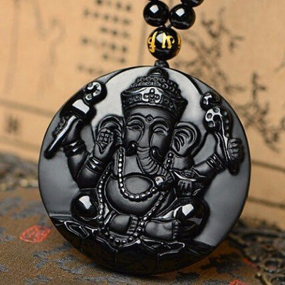 Necklace - Black Obsidian Ganesh Elephant Necklace