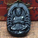Necklace - Black Obsidian Guan Yin Buddha Necklace
