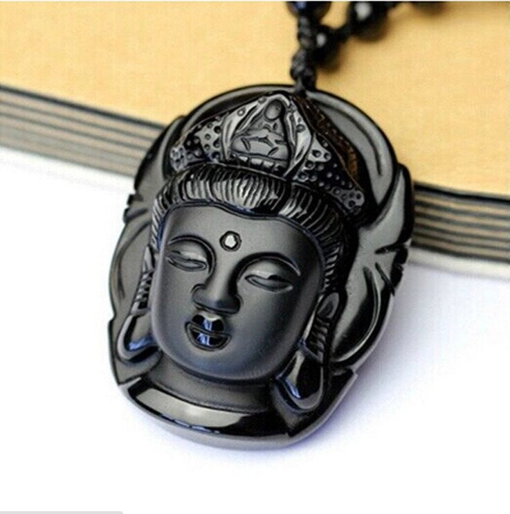 Necklace - Black Obsidian Guanyin Head Necklace