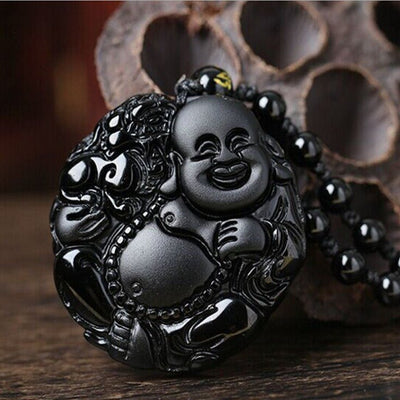 Necklace - Black Obsidian Happy Buddha Necklace