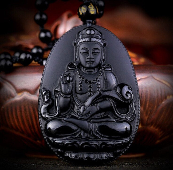 Necklace - Black Obsidian Ruyi Guanyin Necklace