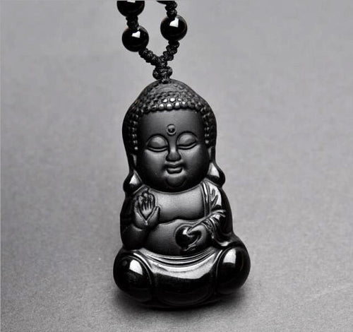 Necklace - Black Obsidian Shakya Muni Buddha Necklace