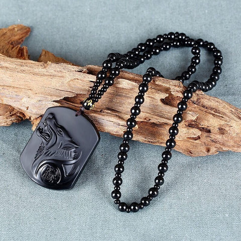Necklace - Black Obsidian Wolf Head Necklace