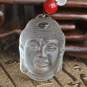 Necklace - Clear Crystal Quartz Buddha Head Necklace