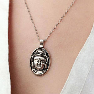 Necklace - Silver Plated Buddha Head Necklace
