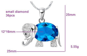Necklace - Silver Plated & Crystal Elephant Necklace