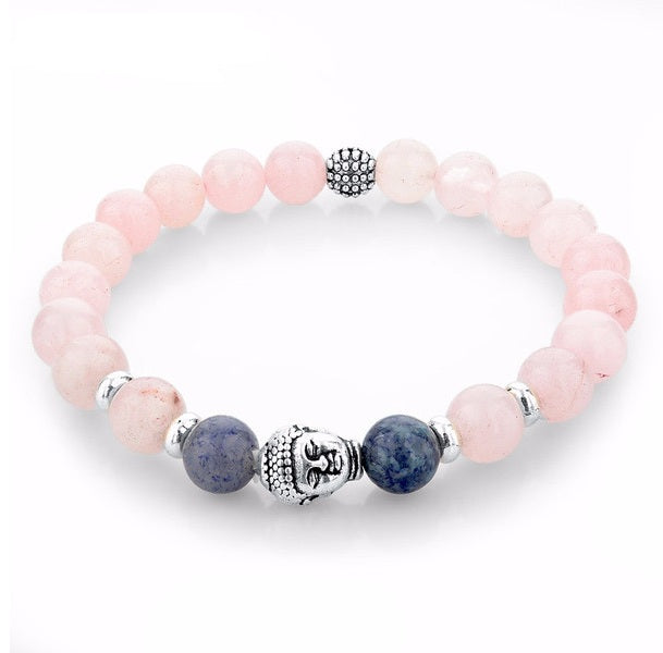 Pink Natural Stone Beads Buddha Bracelet. - Hilltop Apparel - 1