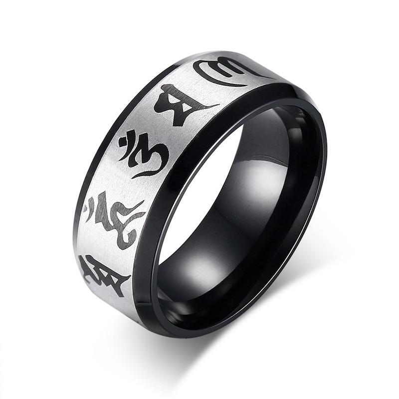 Meaeguet Traditional Om Mani Padme Hum Black Color Ring