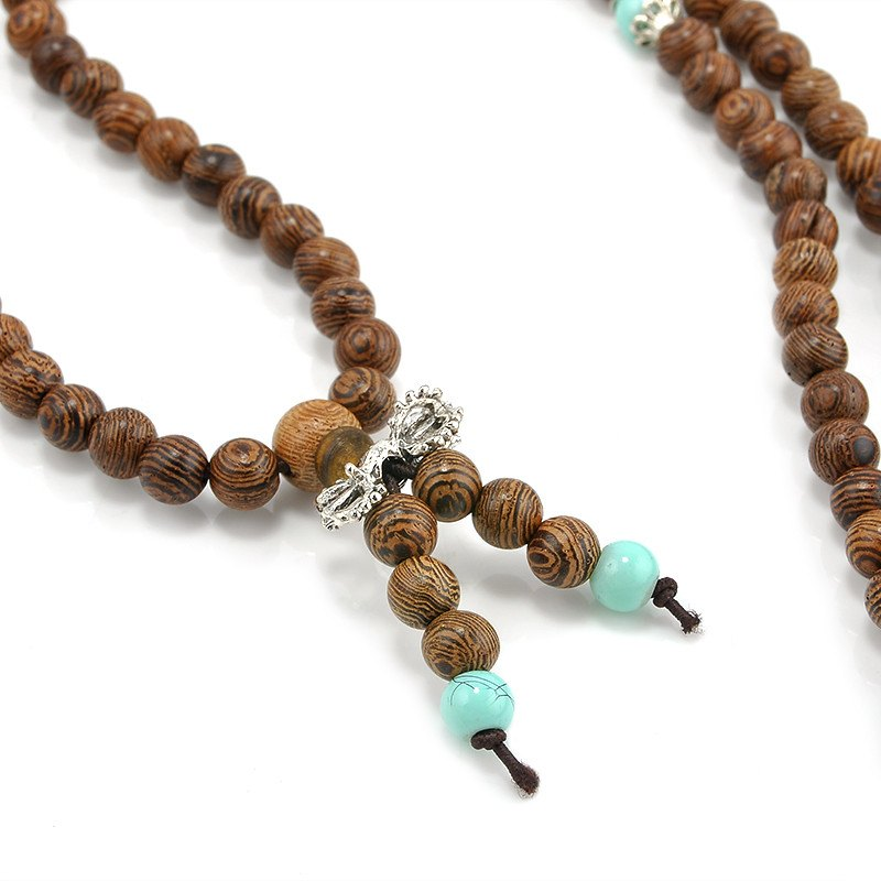 Sandalwood and Turquoise Mala Necklace/Bracelet. - Hilltop Apparel - 3