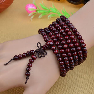 216 Beads Sandalwood Mala Bracelet/Necklace. 5 Colors. - Hilltop Apparel - 1