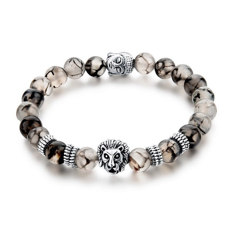 Silver Plated Lion Head & Agate Beads Bracelet - Hilltop Apparel - 1