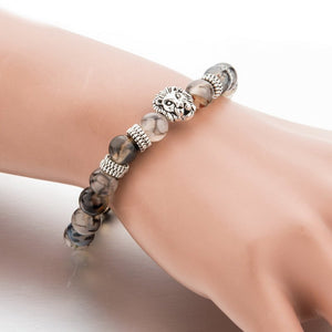 Silver Plated Lion Head & Agate Beads Bracelet - Hilltop Apparel - 2