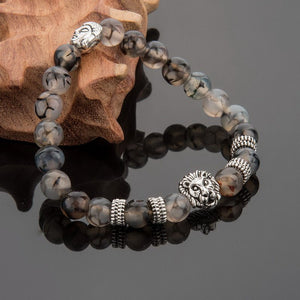 Silver Plated Lion Head & Agate Beads Bracelet - Hilltop Apparel - 3
