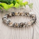 Silver Plated Lion Head & Agate Beads Bracelet - Hilltop Apparel - 4