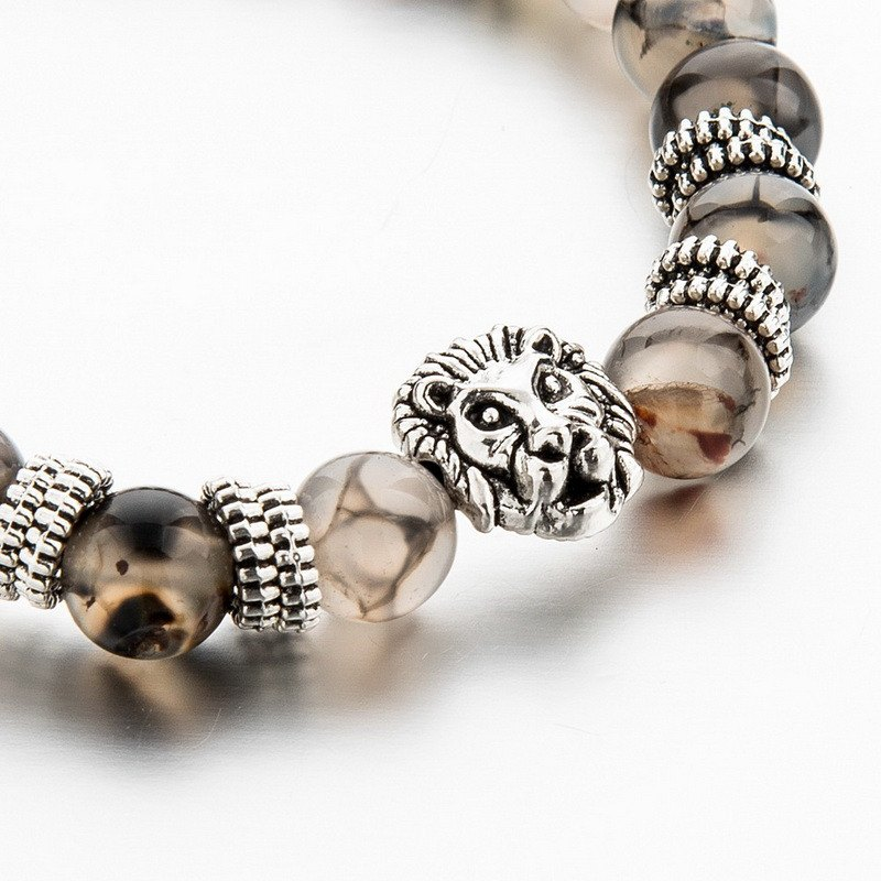 Silver Plated Lion Head & Agate Beads Bracelet