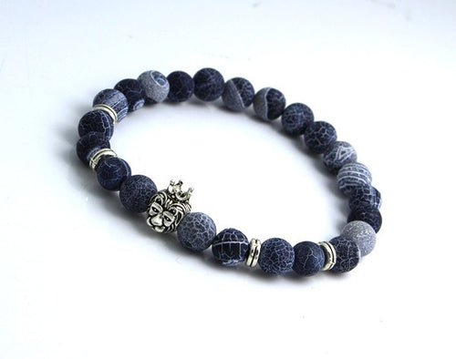 Silver Plated Lion's Head Agate Beads Bracelet - Hilltop Apparel - 1