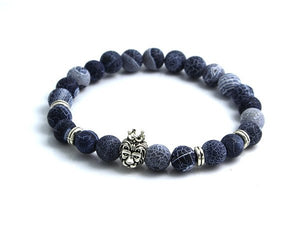 Silver Plated Lion's Head Agate Beads Bracelet - Hilltop Apparel - 3