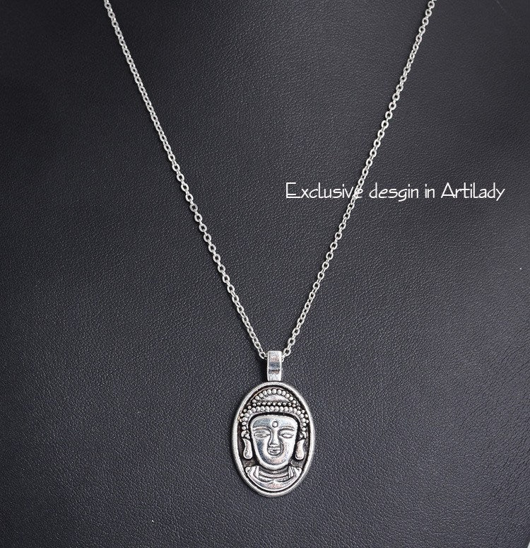 Silver Plated Buddha Head Pendant Necklace - Hilltop Apparel - 2
