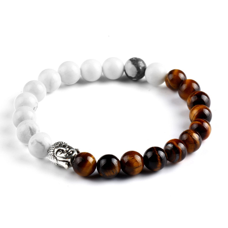 Natural Stone 2 Colors Buddha Bracelet. 5 Options. - Hilltop Apparel - 2