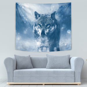 Blue Eyed Wolf Tapestry