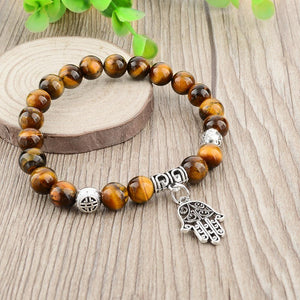 Tiger Eye Natural Stone Evil Eye Bracelet. - Hilltop Apparel - 6