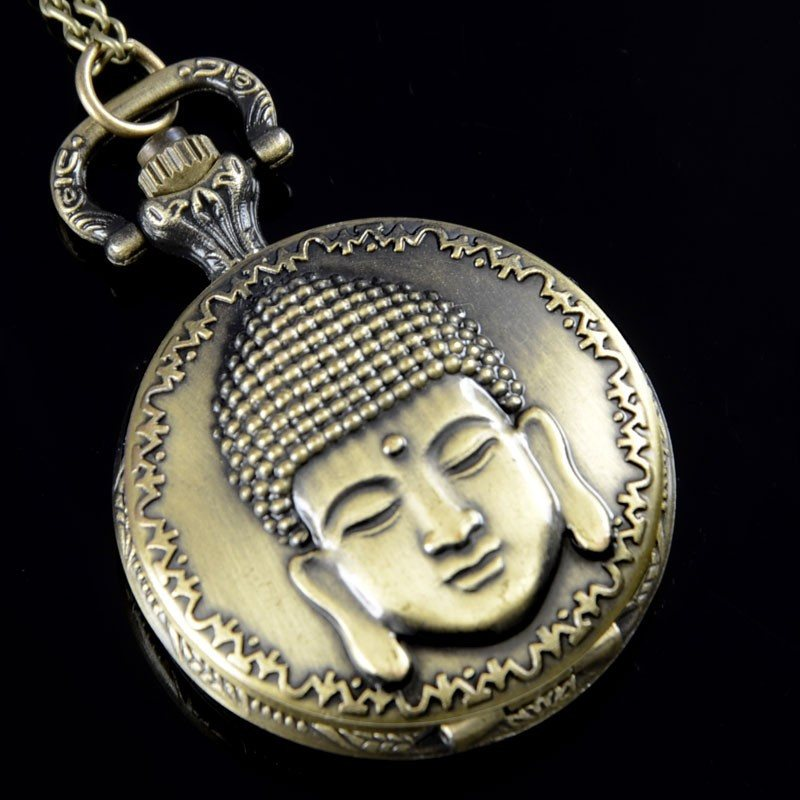 Vintage Bronze Buddha Pocket Watch Necklace - Hilltop Apparel - 1