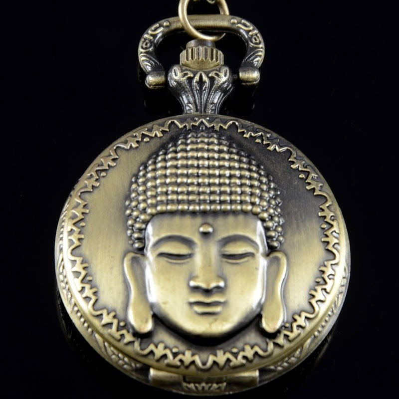 Vintage Bronze Buddha Pocket Watch Necklace - Hilltop Apparel - 4