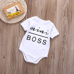 Newborn Baby Boys Girls Cotton Clothes Short Sleeve Letter Romper Jumpsuit Outfit Sunsuit - Your Baby's Closet