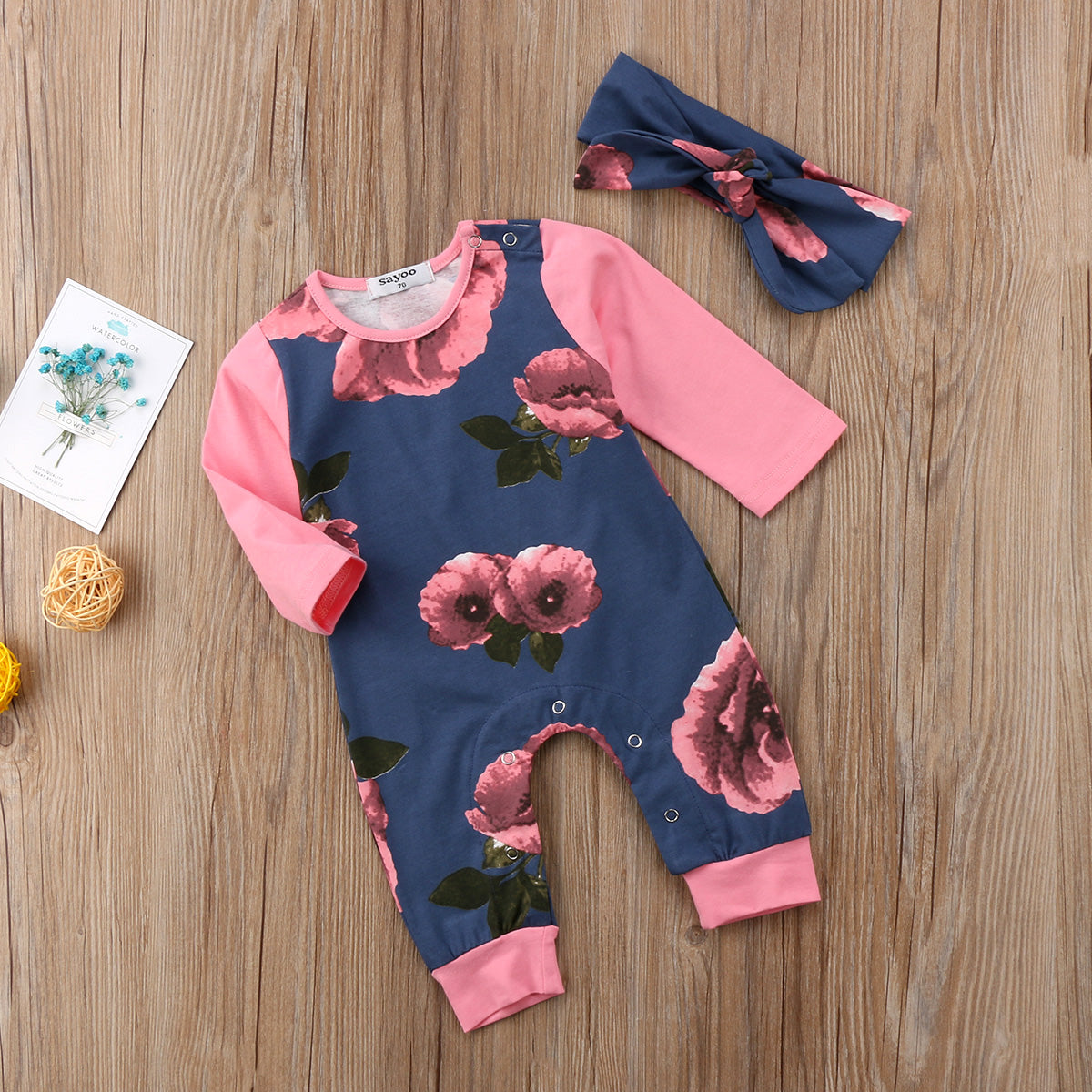 Newborn Baby Girls Flower Floral long Sleeve Rompers Jumpsuit casual Outfits Set Clothes 0-24M - Your Baby's Closet