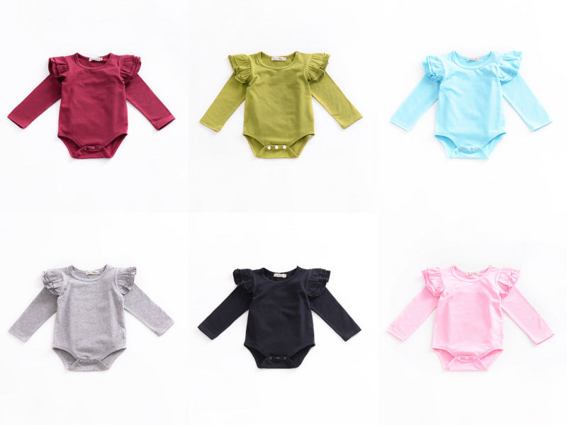 Infant Baby Girls Solid Ruffles Cotton Romper Long Sleeve Outfits Jumpsuit Clothes - Your Baby's Closet